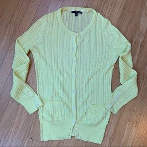 Gap Light Yellow Lightweight Cable Knit Cardigan